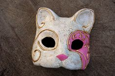 Antiqued Pink Cat Masquerade Mask by AnotherFaceStudio on Etsy, $39.50