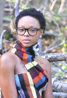 Short natural hair with glasses.  Luvin her style and hair.  TWA (Teeny Weeny Afro) short natural hair for black women.