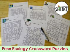 Free set of 6 ecology crossword puzzles for middle and high school students.