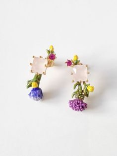 Authentic Les Nereides FACETED GLASS AND LITTLE FLOWERS EARRINGS #Lesnereides #jewellery #fashion #accessory #earrings #flower #stone