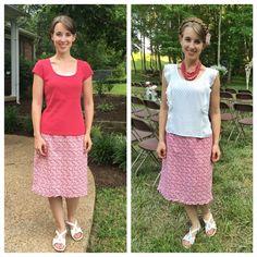 Pink floral skirt, pink shirt, white sleeveless shirt