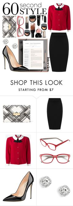 """""""60 second style: interview. (Clutch, reading glasses, makeup, blouse, pencil skirt, earrings, heels, resume)"""" by aaron-nkelsey-anderson ❤ liked on Polyvore featuring Lauren Ralph Lauren, WearAll, Gucci and Kate Spade"""