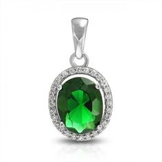 925 Sterling Silver Green Emerald Color CZ Oval Crown Setting Pendant Oval Pendant, Pendant Jewelry, Pendant Necklace, Emerald Color, Emerald Green, Bling Jewelry, Jewelry Necklaces, Sterling Silver Jewelry, Plating