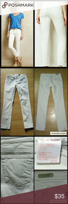 """AG Adriano Goldschmied Stevie Slim Straight Jeans These jeans are preloved but still in very good condition. They are the Stevie Slim Straight Jeans in White. Made of 9% cotton 2% EA (elastane). Tag size is 27R.  Waist across with natural dip is 14.25"""" Waist across when aligned is 14.75"""" Front Rise is 7"""" Inseam is 30"""" AG Adriano Goldschmied Jeans Straight Leg"""