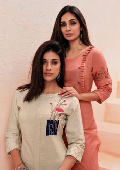 Wonderful Cost-Free Embroidery Designs for kurtis Ideas Vink Marigold Designer Linen Cotton with Handwork Readymade Kurtis with Palazzo at Wholesale Rate Plain Kurti Designs, Salwar Designs, Kurta Designs Women, Kurti Designs Party Wear, Latest Kurti Designs, Churidar Neck Designs, Dress Neck Designs, Designs For Dresses, Blouse Designs
