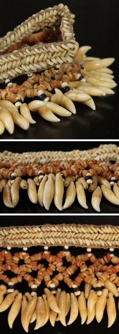 Antique Solomon Islands headband, porpoise teeth, shell beads. Oceanic art jewelry.