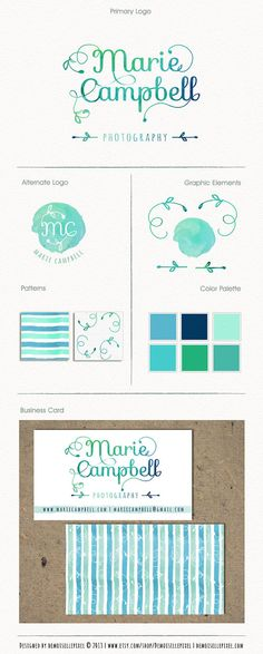 Business Identity Package Hand Drawn Watercolor by Demoisellepixel
