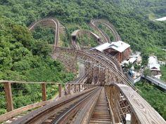 Massive new wooden coaster on hillside at Knight Valley, Shenzhen, China