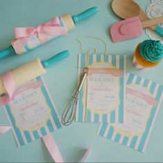 #Invitations Bakery themed birthday party. Hand deliver invitations were wrapped around rolling pins that have been hand painted in custom party colours. Interstate guests will recieve an invitation tied with baker's twine and attached to a mini whisk. #somethingwonderfulhappened