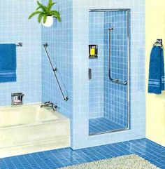 Tile Bathroom, Chic Exquisite Cool Blue Bathroom Interior Fresh And Natural Bathroom Theme With Fres Royal Blue Bathrooms, Blue Small Bathrooms, Vintage Bathrooms, Blue Bathroom Interior, Blue Bathroom Decor, Bathroom Kids, Bathroom Wall, Bathroom Accessories, Mid Century Bathroom