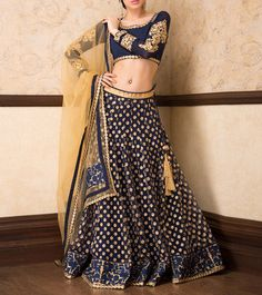 Navy Blue Zari Embroidered Lehenga Choli And Dupatta