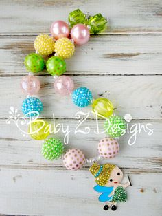 TinkerBell Inspired Chunky Necklace in Yellow Lime and Pink by babyzdesigns