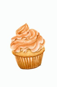 Cupcake  ORIGINAL Painting Desset Illustration por ForestSpiritArt, £25.00