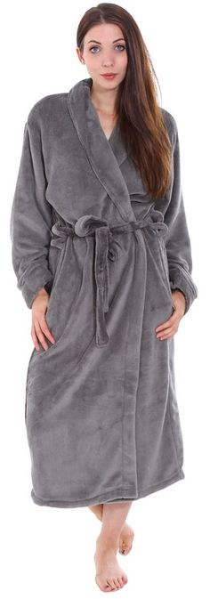 dce27f0748 Plush Spa Hotel Kimono Bath Robe   Bathrobe Sleepwear for Women Men Steel  Grey Bath Robes