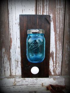 Mason Man Jar - Blue Ball to hold razor and antique knob for towel! http://www.etsy.com/shop/CountryAkers