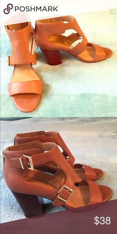 b3bc790d16fd Tommy Hilfiger leather sandals These have a modest heel for a little height  without sacrificing comfort  real leather with gold hardware.