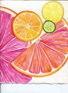 Citrus watercolors paintings original Ruby Red by SharonFosterArt