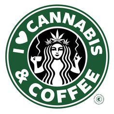Weed and Coffee sticker. Starbucks weed and coffee. Starbucks Cannabis and Coffee. Marijuana Art, Medical Marijuana, Marijuana Funny, Cannabis Oil, Ganja, Love Gun, My Love, Gun Humor, Weed
