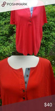 Red plus size Ralph Lauren top Short sleeve Henley type tshirt. 5 buttons on denim trim. Size 3x. Red. Lauren Ralph Lauren Tops Tees - Short Sleeve