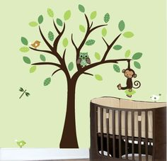 Childrens nursery tree vinyl wall decal with owls by couturedecals, $109.00