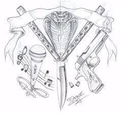 Gang Knife Gun Tattoo Design by 2Face-Tattoo