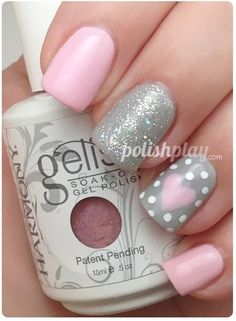 Silver and pink nails nails girls summer spring style fashion trend winter ootd nailart dots glitter sparkle heart love stripnails nailart naildesign nailporn