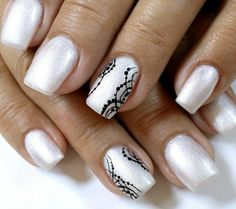 White, pearl, black, dots, stripes, medium, short nails, accent nail