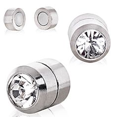 Clear CZ Magnetic Fake Plugs - 0GA Clear - Sold as a Pair