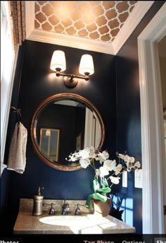 look at the gorg gold stencil on this half bath ceiling. little effort, loads of impact.
