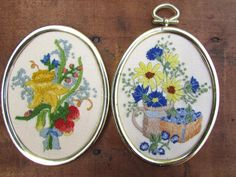 Crewel Embroidery Flowers Framed Vintage Your Choice of ONE | Etsy Orange Butterfly, Yellow Daisies, Crewel Embroidery, Oval Pendant, Flower Frame, Embroidered Flowers, Pansies, Different Styles, Decorative Plates