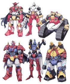 "Getter Robo. Getter's 1, 2 and 3 alongside Getter's ""Dragon"", ""Liger"" and ""Poseidon"""