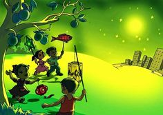 Children with many kind of light in Mid Autumn Festival