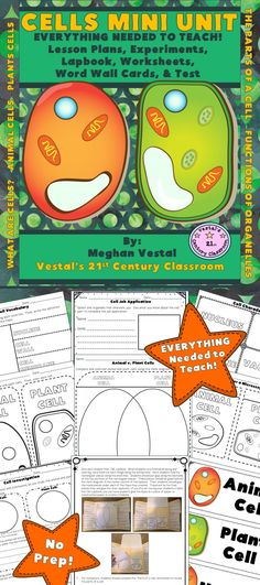 Cells are a fun science concept to teach and students will love learning about cells using this hands-on mini unit! EVERYTHING you need to teach a science unit on cells can be found in this 1 week, 38-page unit!  Students will use inquiry and hands-on activities to discover what cells are, the parts of a cell, the functions of organelles, and the differences between animal and plant cells.