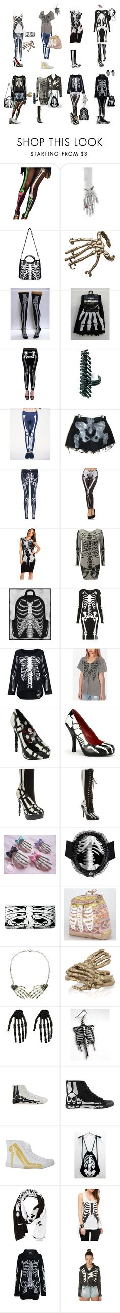 """Skeleton"" by caprizy ❤ liked on Polyvore featuring Delettrez, Bernard Delettrez, Iron Fist, McQ by Alexander McQueen, Topshop, Truly Madly Deeply, Hot Topic, Funtasma, T-shirt & Jeans and Be & D"