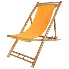 Bambus Relax-Liegestuhl Sonnenstuhl ~ orange