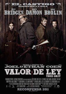 Valor de Ley (2010) dirigidos por los Hermanos Coen; protagonizando Jeff Bridges, Matt Damon, and Hailee Steinfeld