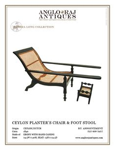 ANGLORAJ ANTIQUES | OCCASIONAL CHAIRS PLANTERS EBONY CHAIR  1820