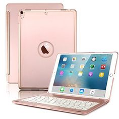 Discounted New iPad Pro Keyboard Case,Boriyuan Protective Ultra Slim Hard Shell Folio Stand Smart Cover with 7 Colors Backlit Wireless Bluetooth Keyboard for Apple iPad Pro inch 2017 Tablet (Rose Gold) Ipad Pro Apple, New Ipad Pro, Ipad Pro Rose Gold, Accessoires Ipad, Apple Watch Iphone, Ipad Accessories, Computer Accessories, Bluetooth Keyboard, Samsung