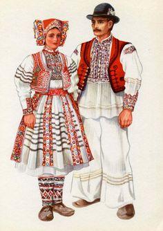 Croatia National Costume Print Vintage 1950s V Kirin Croat Folk Ethnic Dress Slavic
