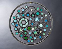 Stained glass bicycle wheel Water themed - recycled bicycle art