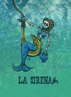 Day of the Dead Artist David Lozeau, La Sirena Loteria, David Lozeau Dia de los Muertos Art