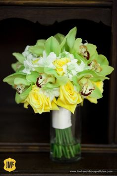 Orchid Wedding | Bright Green and Yellow Orchid and Rose Bridal Bouquet by The French ...