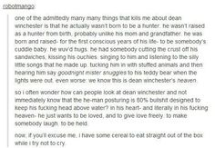AND NOW I'M IN LOVE WITH DEAN WINCHESTER GODDAMMIT. ONE OF THEM WAS ENOUGH AND NOW BOTH OF THEM? C'MON!!