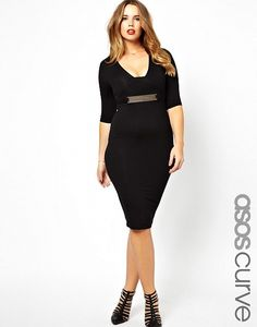 15a0f79044c ASOS CURVE Exclusive Body-Conscious Midi Dress With Gold Belt by Asos Curve  Curve Trousers