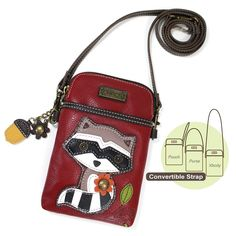 Raccoon Cell Phone Crossbody Bag by Chala