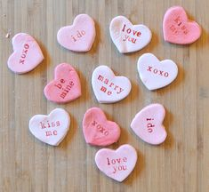 Try this candy heart tutorial for a quick and easy recipe for Conversation Heart Candies - complete with custom messages!