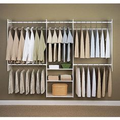 Easy Track Closet 4-8' White Deluxe Closet Starter Kit — No closet solution for the bedroom. Hide with a curtain.