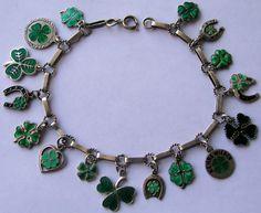 Vintage German Silver Enamel Lucky Clover Charm Bracelet Cute 16 Charms | eBay
