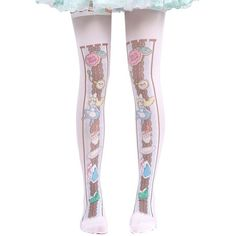 Amazon.com: Hugme Womens cute alice in wonderland print lolita... ($8.88) ❤ liked on Polyvore featuring intimates, hosiery, socks, patterned hosiery, thigh high socks, patterned socks, print socks and thigh high hosiery