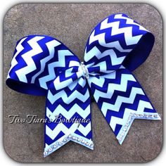 Chevron Cheer Bow Purple white with Bling any color on Etsy or Facebook by Two Tiara's Bowtique